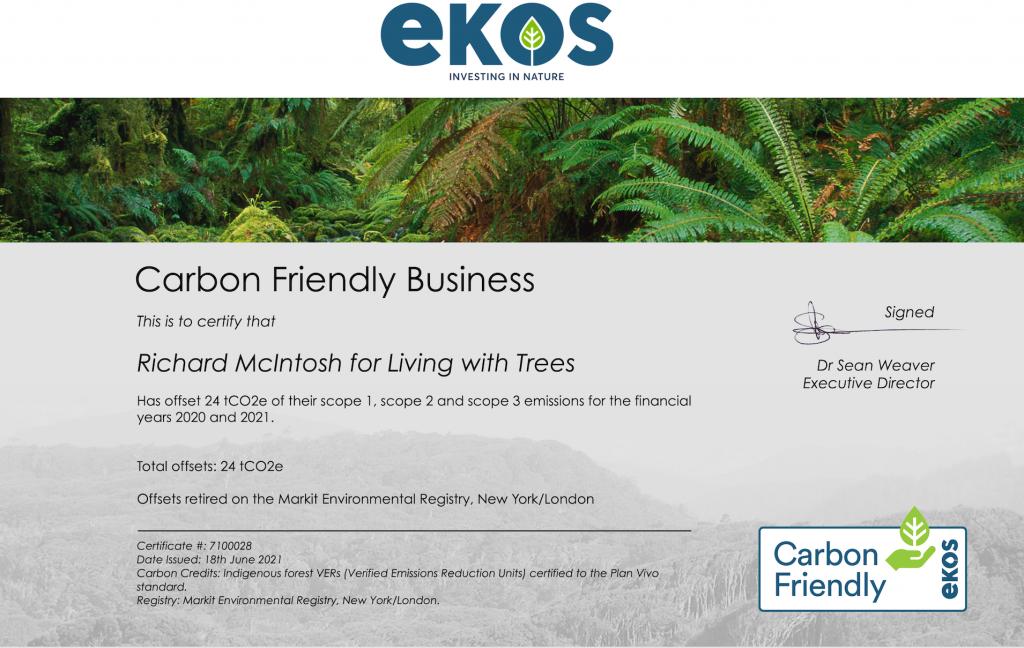 Carbon-friendly certificate